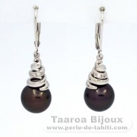 .925 Solid Silver Earrings and 2 Tahitian Pearls Near-Round C 9.6 mm