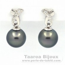 Rhodiated Sterling Silver Earrings and 2 Tahitian Pearls Round C 9 and 9.1 mm