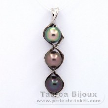 Rhodiated Sterling Silver Pendant and 3 Tahitian Pearls Semi-Baroque C  9.6 to 9.8 mm