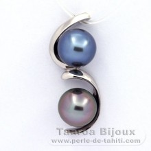 Rhodiated Sterling Silver Pendant and 2 Tahitian Pearls Semi-Baroque B+ 9.5 mm