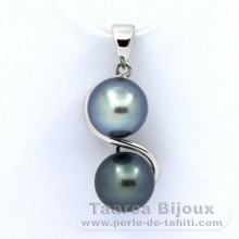Rhodiated Sterling Silver Pendant and 2 Tahitian Pearls Semi-Baroque B 8 mm