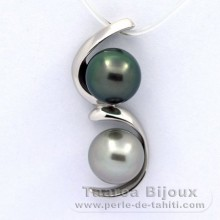 Rhodiated Sterling Silver Pendant and 2 Tahitian Pearls Semi-Baroque B 8.9 mm