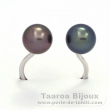 Rhodiated Sterling Silver + Rhodium Ring and 2 Tahitian Pearls Round C+ 8.3 and 8.4 mm