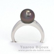 Rhodiated Sterling Silver + Rhodium Ring and 1 Tahitian Pearl Round B 8.7 mm