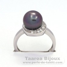 Rhodiated Sterling Silver + Rhodium Ring and 1 Tahitian Pearl Round B+ 9 mm