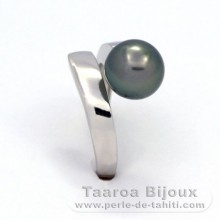 .925 Solid Silver + Rhodium Ring and 1 Tahitian Pearl Round C 9.5 mm