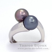 Rhodiated Sterling Silver + Rhodium Ring and 2 Tahitian Pearls Round C+ 8.5 and 8.6 mm