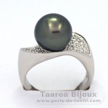 Rhodiated Sterling Silver + Rhodium Ring and 1 Tahitian Pearl Round C 9.9 mm