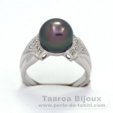 Rhodiated Sterling Silver + Rhodium Ring and 1 Tahitian Pearl Round C 9.6 mm