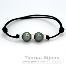 Waxed Cotton Bracelet and 2 Tahitian Pearls Round C 10.3 and 10.4 mm