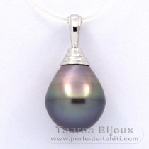 Rhodiated Sterling Silver Pendant and 1 Tahitian Pearl Ringed B 12.5 mm