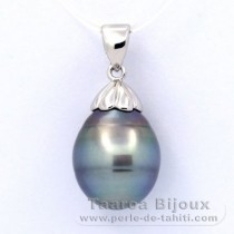 Rhodiated Sterling Silver Pendant and 1 Tahitian Pearl Ringed C 12.3 mm