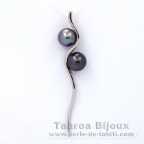 Rhodiated Sterling Silver Pendant and 2 Tahitian Pearls Round C 8 and 8.3 mm