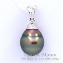 Rhodiated Sterling Silver Pendant and 1 Tahitian Pearl Ringed C 10.6 mm