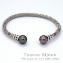 Rhodiated Sterling Silver Bracelet and 2 Tahitian Pearls Near-Round B 9 mm