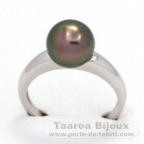 Rhodiated Sterling Silver + Rhodium Ring and 1 Tahitian Pearl Round C 9.1 mm