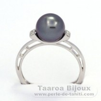 Rhodiated Sterling Silver + Rhodium Ring and 1 Tahitian Pearl Round C 8.6 mm