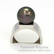 Rhodiated Sterling Silver + Rhodium Ring and 1 Tahitian Pearl Round C 11.3 mm