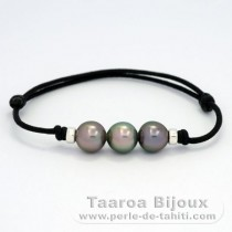 Waxed Cotton Bracelet and 3 Tahitian Pearls Semi-Baroque C 9.5 mm