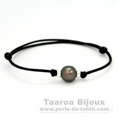 Waxed Cotton Bracelet and 1 Tahitian Pearl Semi-Baroque A 10.2 mm