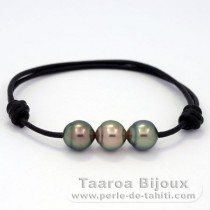 Leather Bracelet and 3 Tahitian Pearls Semi-Baroque B  8.8 to 8.9 mm