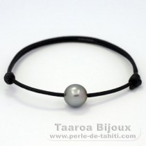 Waxed Cotton Bracelet and 1 Tahitian Pearl Near-Round C 9.9 mm