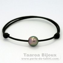 Waxed Cotton Bracelet and 1 Tahitian Pearl Semi-Baroque C 9.7 mm