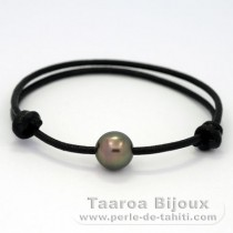 Leather Bracelet and 1 Tahitian Pearl Semi-Baroque B 10.5 mm