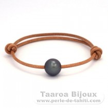 Leather Bracelet and 1 Tahitian Pearl Near-Round C 11 mm