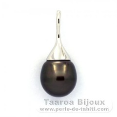 Rhodiated Sterling Silver Pendant and 1 Tahitian Pearl Semi-Baroque B 12.1 mm