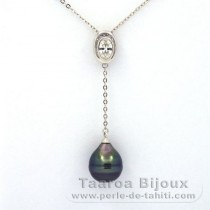 Rhodiated Sterling Silver Necklace and 1 Tahitian Pearl Ringed C 10.1 mm