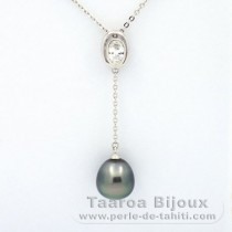 Rhodiated Sterling Silver Necklace and 1 Tahitian Pearl Semi-Baroque C 9.9 mm