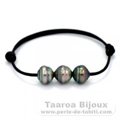 Leather Bracelet and 3 Tahitian Pearls Ringed C  9.7 to 9.8 mm