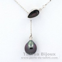 Rhodiated Sterling Silver Necklace and 1 Tahitian Pearl Semi-Baroque A 9.2 mm