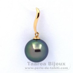 18K solid Gold Pendant and 1 Tahitian Pearl Round B+ 11.2 mm