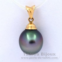 18K solid Gold Pendant and 1 Tahitian Pearl Semi-Baroque B 10.2 mm
