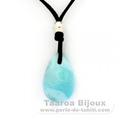 Waxed cotton Necklace + Rhodiated Sterling Silver and 1 Larimar - 18 x 12 x 6.8 mm - 2.4 gr