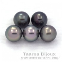 Lot of 5 Tahitian Pearls Round C 8.4 mm