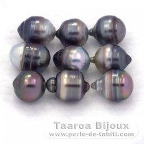Lot of 9 Tahitian Pearls Ringed C/D from 8 to 8.4 mm
