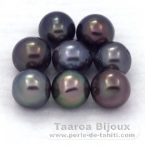 Lot of 8 Tahitian Pearls Semi-Baroque D from 8 to 8.4 mm