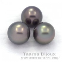 Lot of 3 Tahitian Pearls Round C from 8.1 to 8.4 mm
