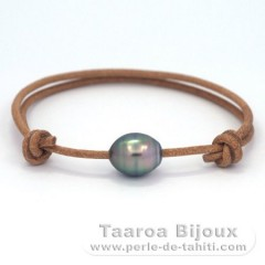 Leather Bracelet and 1 Tahitian Pearl Ringed C 10.1 mm