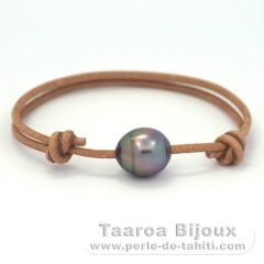Leather Bracelet and 1 Tahitian Pearl Ringed B 11.6 mm