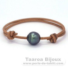 Leather Bracelet and 1 Tahitian Pearl Ringed C 11.6 mm