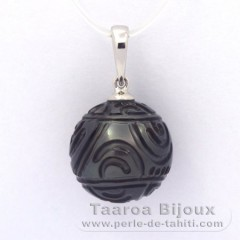 Rhodiated Sterling Silver Pendant and 1 Engraved Tahitian Pearl 13.3 mm