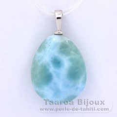 Rhodiated Sterling Silver Pendant and 1 Larimar - 17 x 13.8 x 5.6 mm - 2 gr