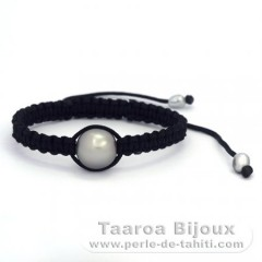 Nylon Bracelet and 1 Tahitian Pearl Semi-Baroque C 13.4 mm + 2 Keishis
