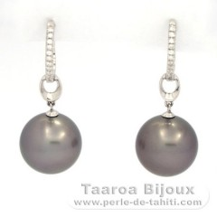 Rhodiated Sterling Silver Earrings and 2 Tahitian Pearls Round C 12.7 mm