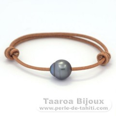 Leather Bracelet and 1 Tahitian Pearl Ringed C 12.1 mm