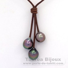 Leather Necklace and 3 Tahitian Pearls Semi-Baroque B  9.7 to 10.2 mm